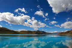 Holy Lake. Sky and clouds and their reflections on lake.shot at holy lake yangzhuoyong in tibetan plateau, China Stock Photo