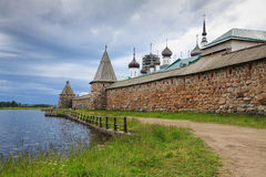 Holy Lake in front of the wall of Solovetsky monastery Royalty Free Stock Photography