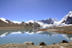 Holy lake in india. Gurudogmar sahib: The holy lake at sikkim, India showing reflection of snow laden peaks in bright sunny day, presenting mirror view Stock Photography