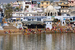 Holy lake in Pushkar, India. Stock Photos