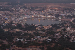 Holy lake in Pushkar at night Stock Photos