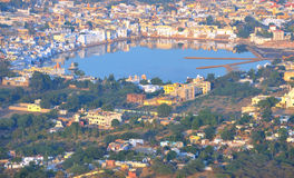 The holy lake at pushkar,in rajasthan,india 2. A high telephoto viewpoint of the holy lake at pushkar,in rajasthan,india Royalty Free Stock Photography