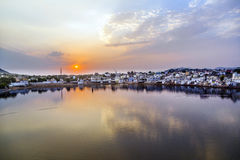 Holy lake in Pushkar at sunset Stock Image