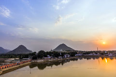 Holy lake in Pushkar at sunset Royalty Free Stock Image