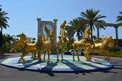 The Holy Land experience, Group of golden horses Royalty Free Stock Photo