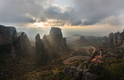 Holy land of Meteora. The valley of Meteora in Greece Royalty Free Stock Image