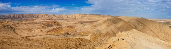 Holy land Series - The Big Crater HaMakhtesh Gadol 2. A panoramic view to the north west of the Big Crater Hamakhtesh Hagadol in the Negev.nHere is what Royalty Free Stock Image