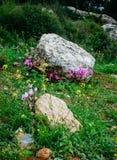 Holy land Series - cycleman in the rocks, Hirbat Burgin Stock Image
