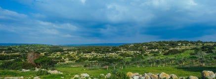 Holy land Series - Hirbat Burgin panorama Stock Image