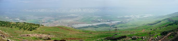 Holy land Series - Jordan Valley Panorama 1. A panoramic view to the east from the slopes of Ramat Tzva`im Deer heights in the eastern part Yizrael Valley look Stock Photos