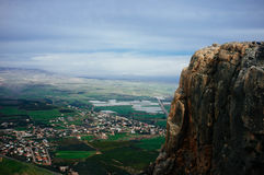 Holy land Series -Mt. Arbel Cliff  2. Mt. Arbel is a high ridge above the sea of Galilee, from which you can see Golan Heights, Jordan,Mt. Hermon Galilee and of Royalty Free Stock Photo