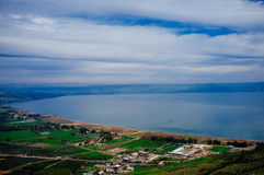 Holy land Series -Mt. Arbel and the Sea of Galilee Stock Photography
