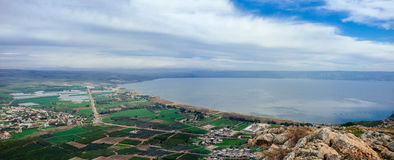 Holy land Series - Mt. Arbel and Sea of Galilee- Winter edition  Royalty Free Stock Photo