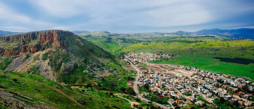 Holy land Series -Mt. Arbel and the Wadi Hamam Village Stock Photos