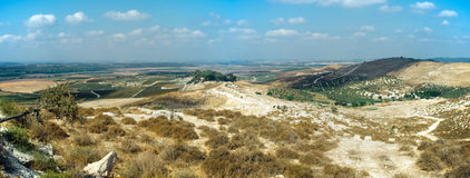 Holy Land Series - Sorek Valley Panorama#2. A panoramic view of Sorek Valley view to the west Stock Photo