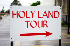 Holy Land tour sign - points right. The holy land means different things to various cultures and people of the world Royalty Free Stock Photography