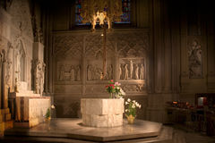 Holy Light. Shrine to Christ in St. Patrick's Cathedral, New York City with lighting altered to appear as if light originates from the altar of Christ Stock Image