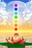 Holy Lotus And Chakra Spheres Royalty Free Stock Photography