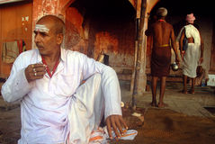 HOLY MAN IN BENARAS Stock Photo