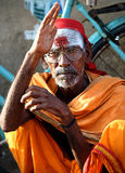 Holy man from India blessing Stock Photo