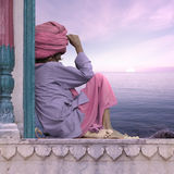 Holy man. Holy man meditating near Ganges in India Royalty Free Stock Photography