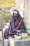 Holy Man in meditation at Varanasi on India Royalty Free Stock Images