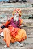 Holy Man posing at Varanasi on India Royalty Free Stock Images