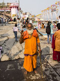 Holy man in Varanasi. A holy man or sadhu on the ghats of the holy city of Varanasi Stock Image
