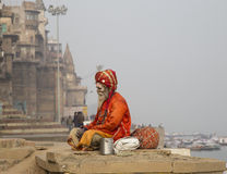 Holy Man in Varanasi. Holy Man seated on the ghats in Varanasi, India Royalty Free Stock Photo