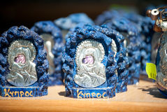Holy mary icon. Holy Mary and child icon at souvenir shop with Greek writing . The word means cyprus Royalty Free Stock Photo