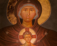 Holy Mary and Jesus icon Stock Photos