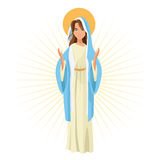 Holy mary religion icon. Vector graphic. Holy mary woman girl cartoon religion saint icon. Pastel colored and isolated illustration. Vector graphic vector illustration