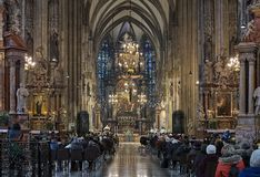 Holy mass in St. Stephen`s Cathedral in Vienna, Austria Royalty Free Stock Photo