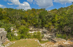 Holy Mayan Cenote in Chichen Itza sight, Mexico. Beautiful nature place in archaeological sight in Mexico Royalty Free Stock Photo