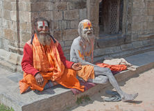 Holy Men in Nepal Royalty Free Stock Image