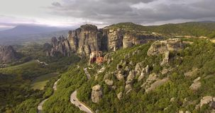 Holy Meteora. From the air stock video footage