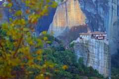 The Holy Monastery of Roussanou with its beautiful autumn panorama, Meteora stock photos