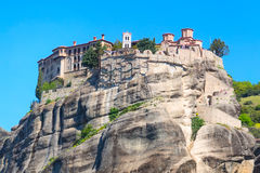 The Holy Monastery of Varlaam on cliff at Meteora rocks, Greece Royalty Free Stock Image
