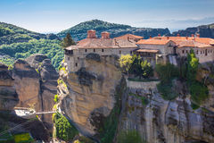 The Holy Monastery of Varlaam on the cliff at Meteora rocks, Greece Royalty Free Stock Photo