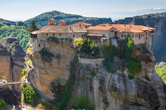 The Holy Monastery of Varlaam on the cliff at Meteora rocks, Greece Royalty Free Stock Photography
