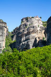 The Holy Monastery of Varlaam on the cliff at Meteora rocks, Greece Royalty Free Stock Images