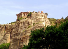 The Holy monastery of Varlaam on a Gigantic Rock of Meteora, Greece. UNESCO World Heritage Site Stock Photo