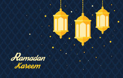 Holy month muslim Ramadan Kareem flat vector. Greeting card template for holy month of muslim community Ramadan Kareem Ramadan fanous on beautiful arabic Royalty Free Stock Images
