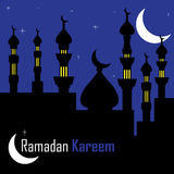 Holy month of Ramadan. Abstract colorful illustration with islamic cityscape by night. Postcard for the holy month of Ramadan Kareem Royalty Free Stock Photos