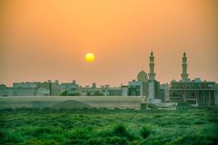 Holy Mosque with the sunset in the evening. royalty free stock photos