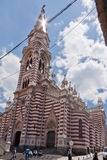 Holy Mother of Carmen Church Bogota Colombia. The striped single tower Holy Mother of Carmen Church in downtown Bogota, Colombia Royalty Free Stock Photos
