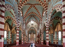 Holy Mother of Carmen Church Bogota Colombia. The striped Holy Mother of Carmen Church main nave in downtown Bogota, Colombia Royalty Free Stock Photo