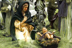 Holy Mother and Son. Mary is looking down on baby Jesus Stock Photos