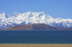 Holy mountains and lake in Tibet Stock Images
