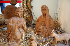 Holy nativiti scene, holy family 1, Christmas exhibition in  Klovicevi dvori, Zagreb 2015. Stock Photos